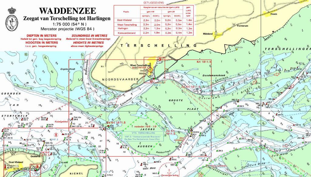 Zeekaart Terschelling